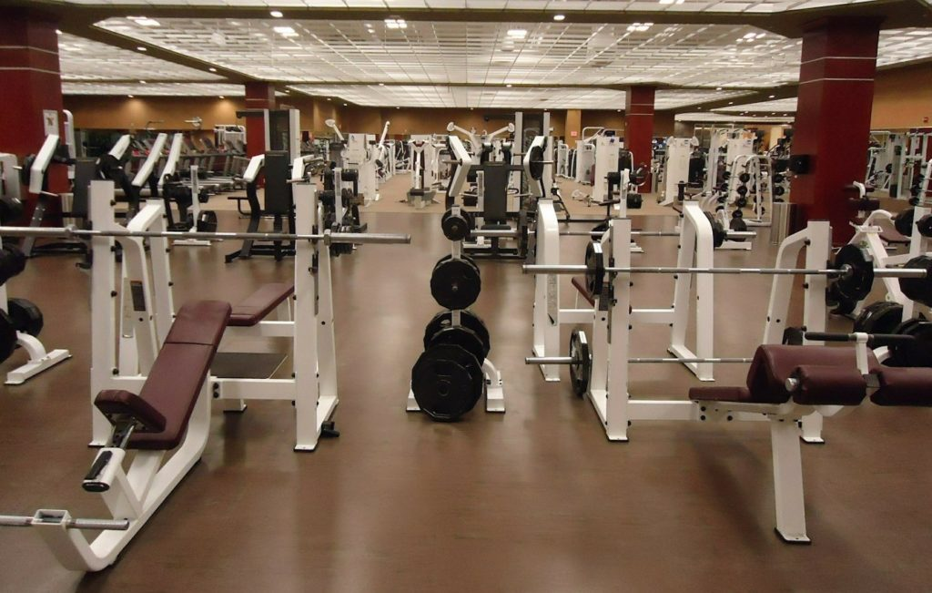 gym interior with gym equipments
