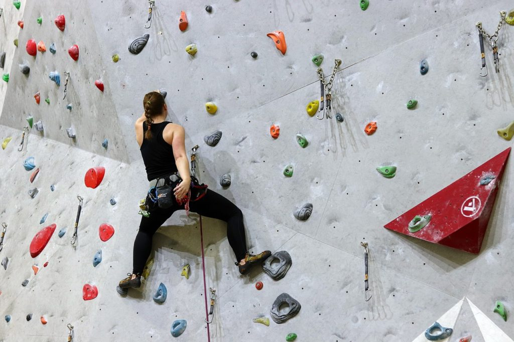 wall climbing at bridges rock gym